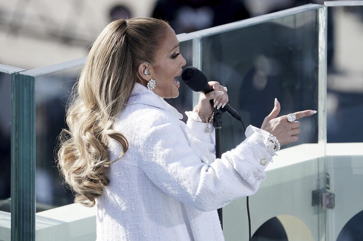 Jennifer Lopez performs during the 59th Presidential Inauguration at the U.S. Capitol for President-elect Joe Biden in…