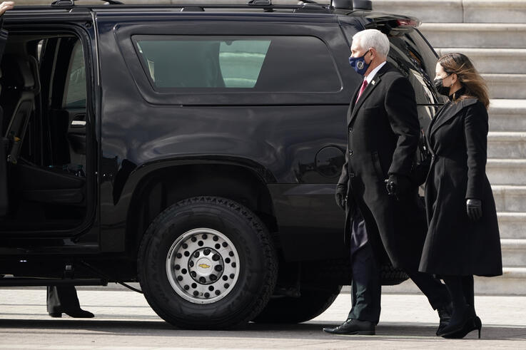 Former Vice President Mike Pence and his wife Karen Pence depart the Capitol after the Inauguration of President Joe Biden…