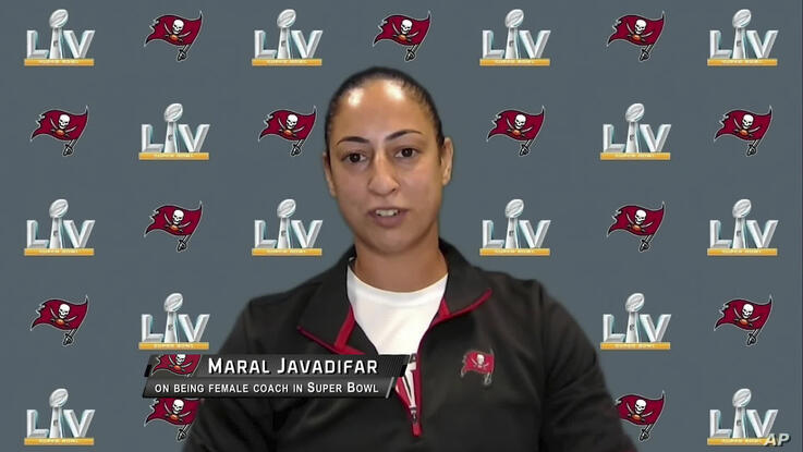 In this still image from video provided by the NFL, Tampa Bay Buccaneers assistant strength and conditioning coach Maral…