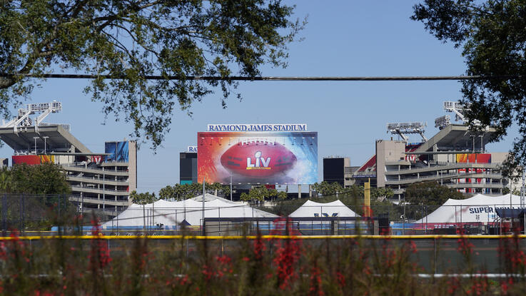 Raymond James Stadium, the site of NFL football Super Bowl LV, is shown Thursday, Jan. 28, 2021, in Tampa, Fla. The Tampa Bay…