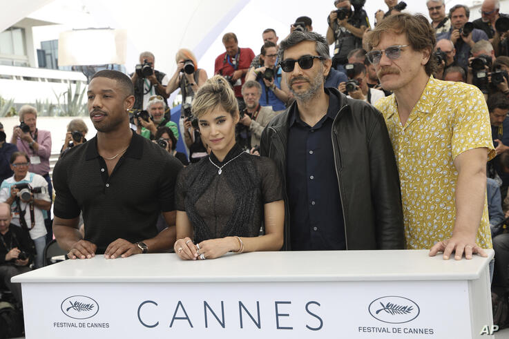 Actors Michael B. Jordan, from left, Sofia Boutella, director Ramin Bahrani and Michael Shannon pose for photographers during a…