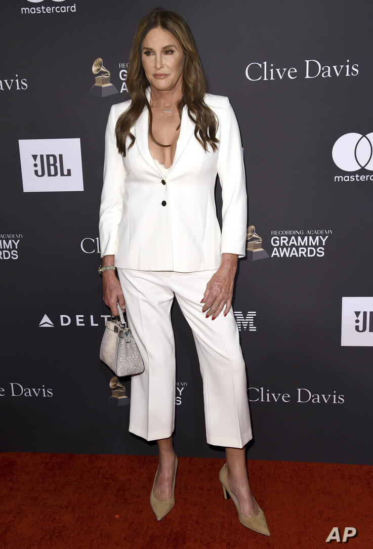 Caitlyn Jenner arrives at the Pre-Grammy Gala And Salute To Industry Icons at the Beverly Hilton Hotel on Saturday, Feb. 9,…