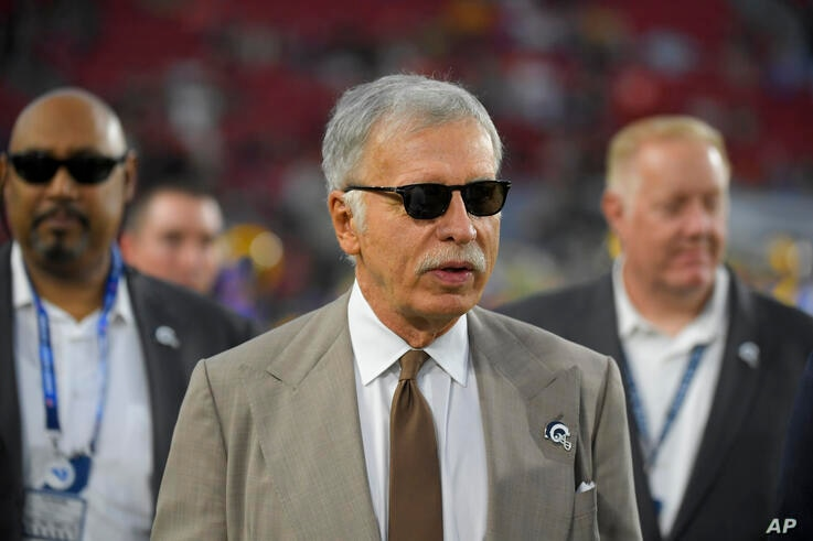 Los Angeles Rams owner Stan Kroenke watches during warm ups before an NFL football game against the Chicago Bears Sunday, Nov…