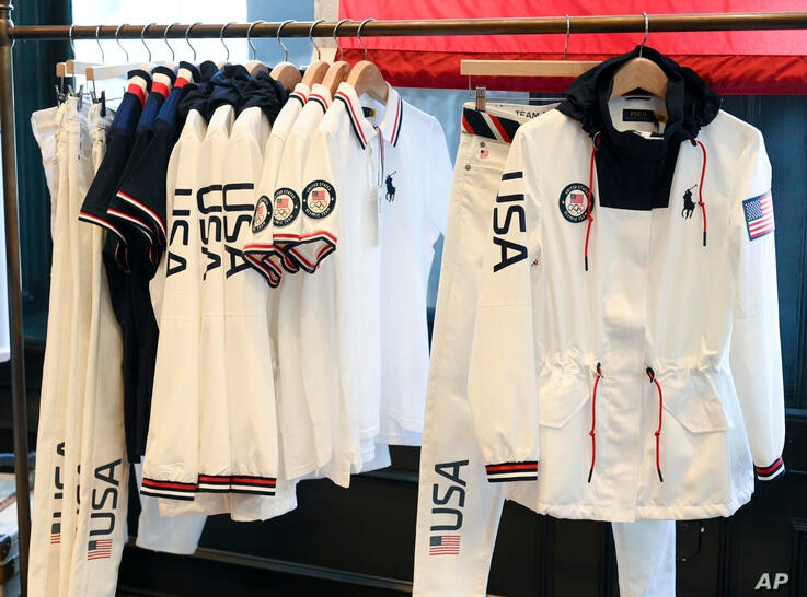 Team USA Tokyo Olympic closing ceremony uniforms are displayed during the unveiling at the Ralph Lauren SoHo Store on April 13,…