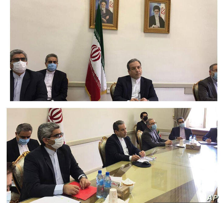 This combined photo released by the Iranian Foreign Ministry, shows Iranian diplomats attending a virtual talk on nuclear deal…