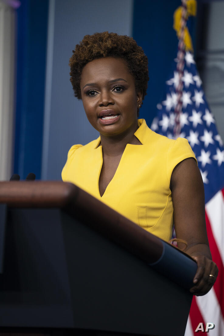 White House deputy press secretary Karine Jean-Pierre speaks during a press briefing at the White House, Wednesday, May 26,…