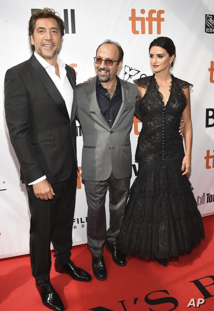 Javier Bardem, from left, director Asghar Farhadi and Penelope Cruz attend the gala for