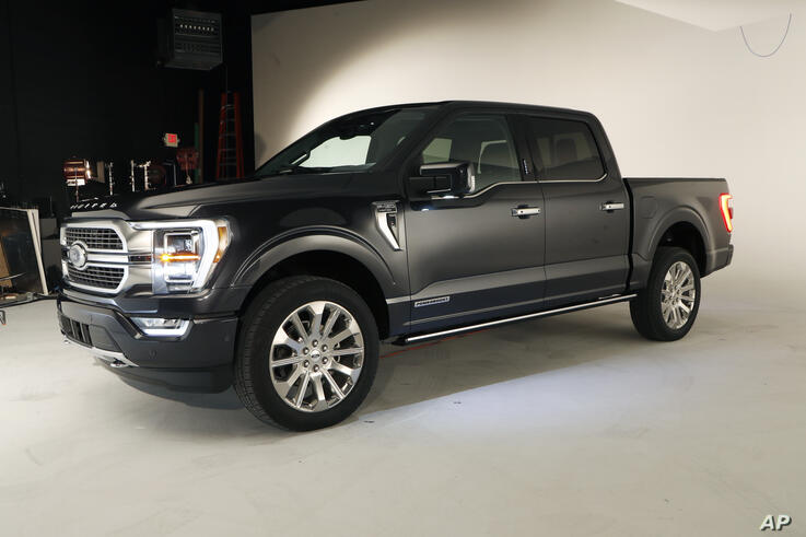 FILE - The new 2021 Ford F-150 truck is photographed in Ferndale, Mich., in this Wednesday, June 24, 2020, file photo. Ford…