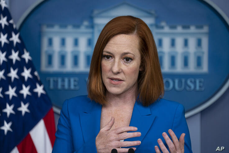 White House press secretary Jen Psaki speaks during a briefing at the White House, Monday, May 17, 2021, in Washington. (AP…