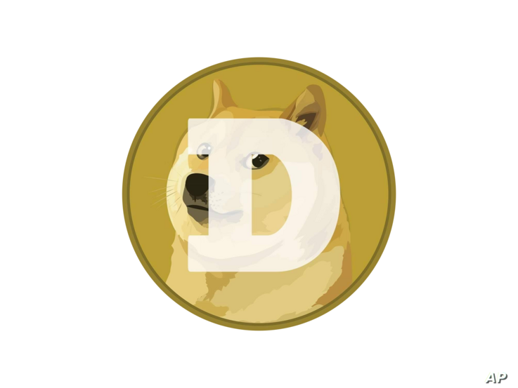 Dogecoin logo, graphic element on gray