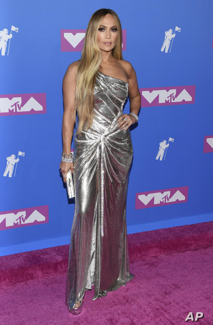 Jennifer Lopez arrives at the MTV Video Music Awards at Radio City Music Hall on Monday, Aug. 20, 2018, in New York. (Photo by…