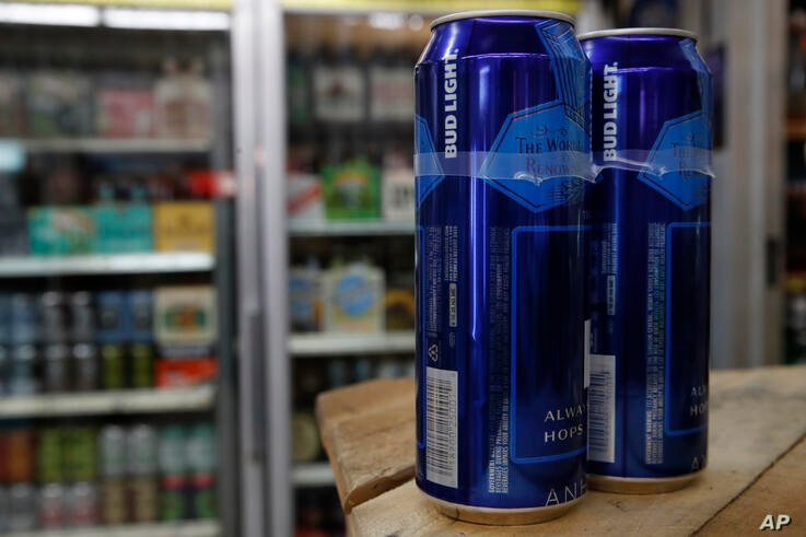 Cans of Bud Light beer are seen, Thursday Jan. 10, 2019, in Washington. (AP Photo/Jacquelyn Martin)