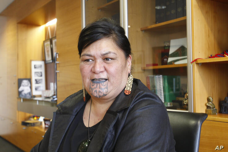 New Zealand's Foreign Minister Nanaia Mahuta speaks during an interview in her office Wednesday, Nov. 25, 2020, in Wellington,…
