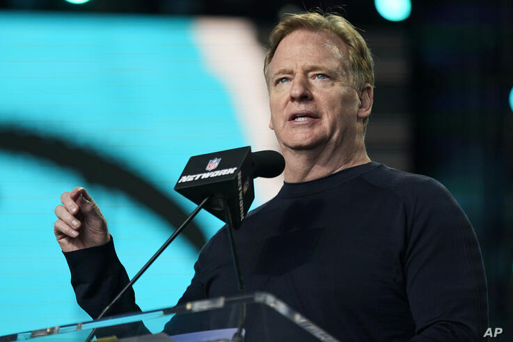 NFL Commissioner Roger Goodell announces the start of the fourth round of the NFL football draft, Saturday, May 1, 2021, in…