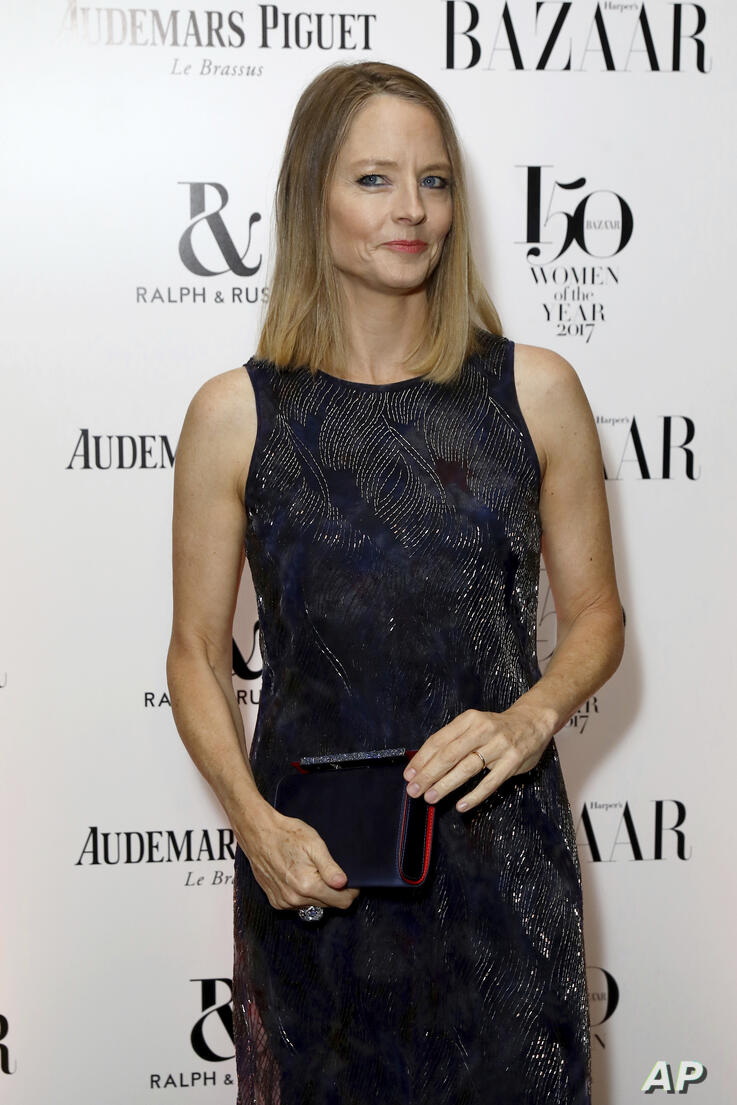 Actress Jodie Foster poses for photographers on arrival at the Harpers Bazaar 'Women of the Year' Awards 2017, in London,…