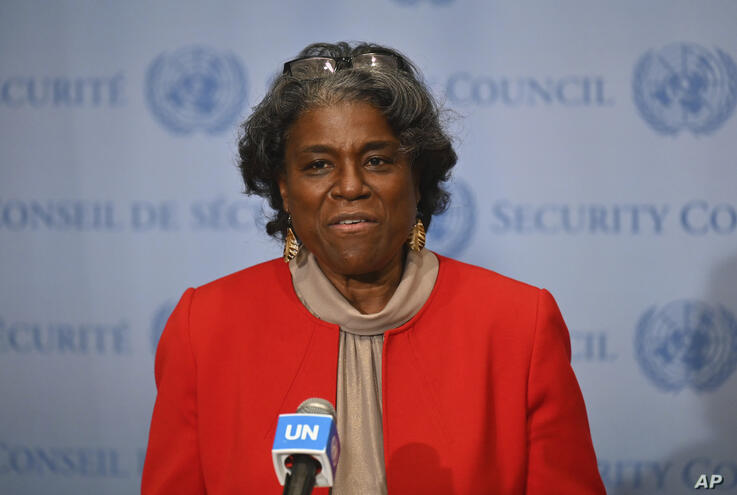 New US Ambassador to the United Nations, Linda Thomas-Greenfield speaks after meeting with UN Secretary-General Antonio…
