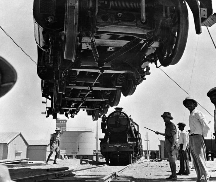 Much of the war equipment for Russia via the Persian Gulf is transported on the Iranian railways in Iran on August 13, 1942…