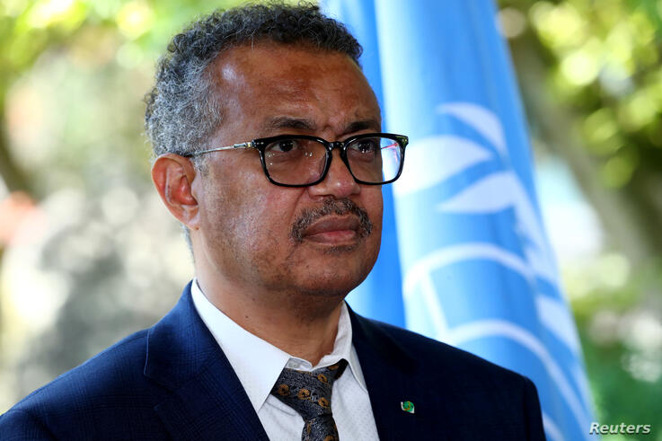 Tedros Adhanom Ghebreyesus, Director-general of the World Health Organization (WHO), attends a news conference in Geneva