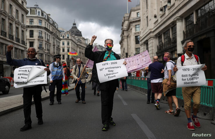 Veteran British LGBT rights campaigner Peter Tatchell takes part in the Gay Liberation Front (GLF) pride march in London, Britain