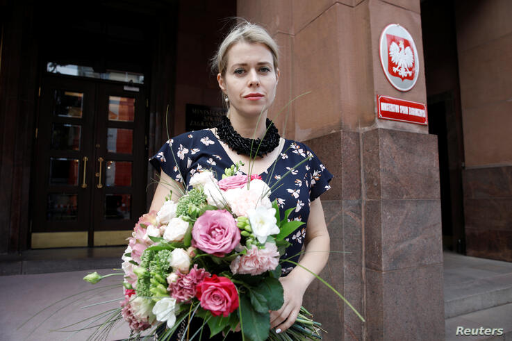 Belarusian opposition figure Veronika Tsepkalo is pictured after an interview with Reuters in Warsaw