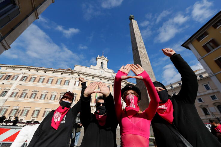 Protests during the International Day for the Elimination of Violence against Women in Rome