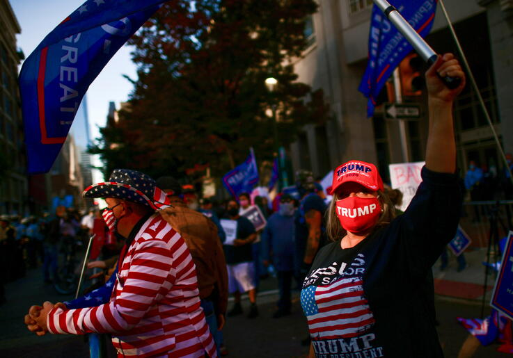 Supporters of U.S. President Donald Trump take part in a protest, in Philadelphia