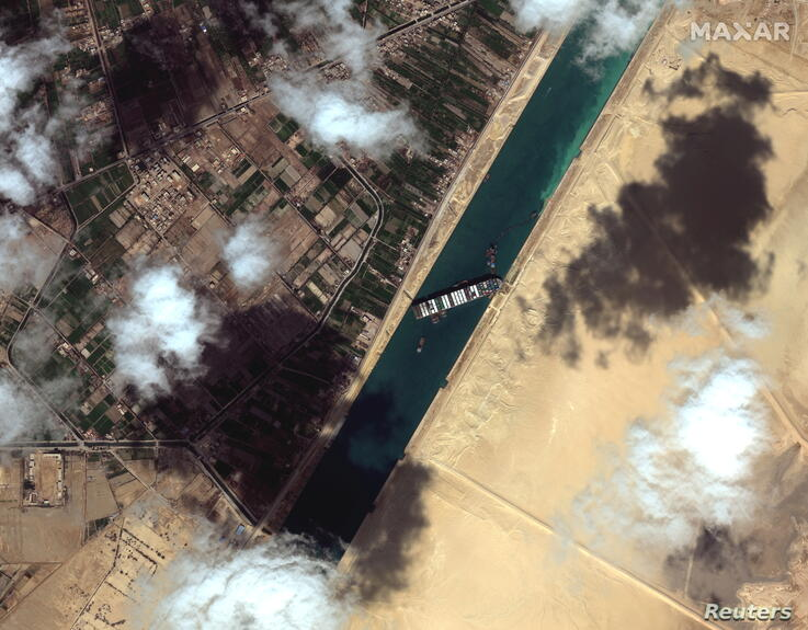 A general view of the Ever Given container ship in Suez Canal