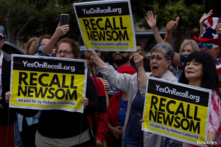 Supporters of the recall campaign of California governor Gavin Newsom prepare for the upcoming recall election with a rally and information session in Carlsbad