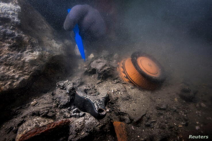 Remains of an ancient military vessel discovered off the coast of Alexandria