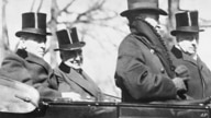 The retiring 28th President Woodrow Wilson, rides with his successor, Warren Gamaliel Harding, to the latter's inauguration,…