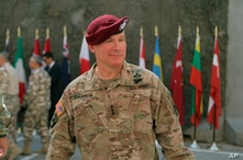 U.S. Army Lt. Gen. Paul LaCamera, XVIII Airborne Corps Commanding General takes part in a transfer authority ceremony at Union…