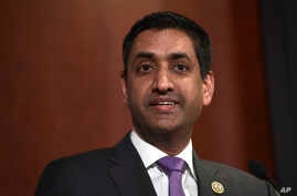 FILE - Rep. Ro Khanna, D-California, speaks on Capitol Hill in Washington, Dec. 18, 2017.