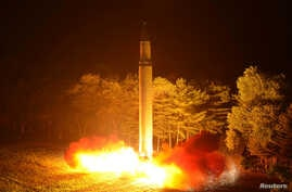FILE - A Hwasong-14 intercontinental ballistic missile is pictured during its second test-fire in this undated picture provided by KCNA in Pyongyang, North Korea, on July 29, 2017.