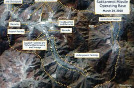 A Digital Globe satellite image taken March 29, 2018, shows what CSIS' Beyond Parallel project reports is an undeclared missile operating base at Sakkanmol, North Korea, and provided to Reuters, Nov. 12, 2018.