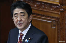 Japan's Prime Minister Shinzo Abe delivers his policy speech at the lower house of parliament in Tokyo February 28, 2013. Abe, whose country is embroiled in a row with China over tiny islands, on Thursday quoted former British Prime Minister Margaret That