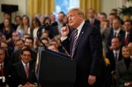 President Donald Trump speaks in the East Room of the White House in Washington, Thursday, Feb. 6, 2020. (AP Photo/Patrick…