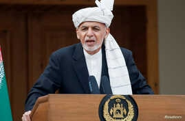 Afghanistan's President Ashraf Ghani speaks during his inauguration as president, in Kabul, Afghanistan March 9, 2020. REUTERS…