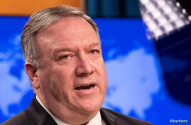 FILE PHOTO: U.S. Secretary of State Mike Pompeo speaks to the media at the State Department in Washington, U.S., May 20, 2020…