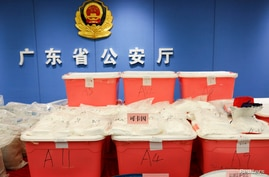 Drugs seized by police officers are seen in Shenzhen, Guangdong province, China April 24, 2018. Chinese police have seized 1.3…