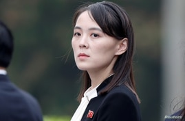FILE PHOTO: Kim Yo Jong, sister of North Korea's leader Kim Jong Un attends wreath laying ceremony at Ho Chi Minh Mausoleum in…