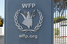 A logo of the World Food Program is seen at their headquarters after the WFP won the 2020 Nobel Peace Prize, in Rome, Italy…
