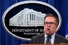 Environmental Protection Agency (EPA) Administrator Andrew Wheeler speaks during a news conference at the Justice Department in…