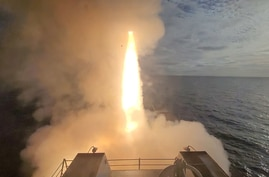 210425-N-NO842-2002 PACIFIC OCEAN (April 25, 2021) Guided-missile destroyer USS John Finn (DDG 113) launches a missile during U…