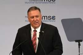 US Secretary of State Mike Pompeo speaks on the podium at the 56th Munich Security Conference (MSC) in Munich, southern Germany…