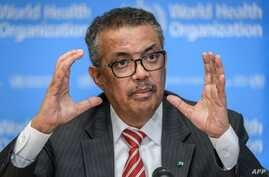 EDITORS NOTE: Graphic content / World Health Organization (WHO) Director-General Tedros Adhanom Ghebreyesus talks during a…