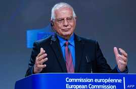 European High Representative of the Union for Foreign Affairs, Josep Borrell Josep Borrell gestures as he speaks during a video…