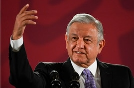 (FILES) In this file picture taken on November 13, 2019 Mexican President Andres Manuel Lopez Obrador attends his daily morning…