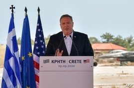US Secretary of State Mike Pompeo addresses a press conferense during a visit to the Naval Support Activity base at Souda, the…