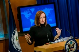 (FILES) In this file photo taken on February 20, 2015 US State Department spokeswoman Jen Psaki delivers a daily briefing at…
