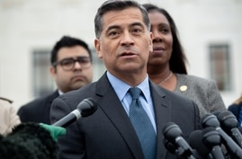 (FILES) In this file photo taken on November 12, 2019 California Attorney General Xavier Becerra speaks following arguments…